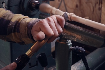 Wood turning on lathe